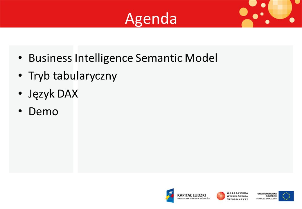 Agenda Business Intelligence Semantic Model Tryb tabularyczny