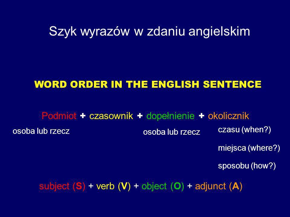 Szyk wyrazów w zdaniu angielskim
