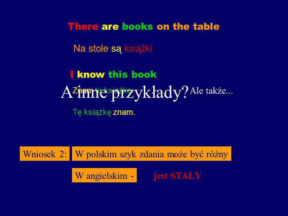A inne przykłady There are books on the table Na stole są książki