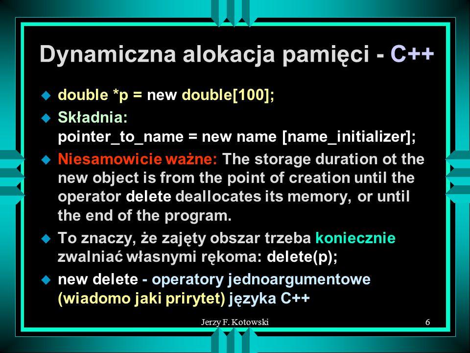Dynamiczna alokacja pamięci - C++