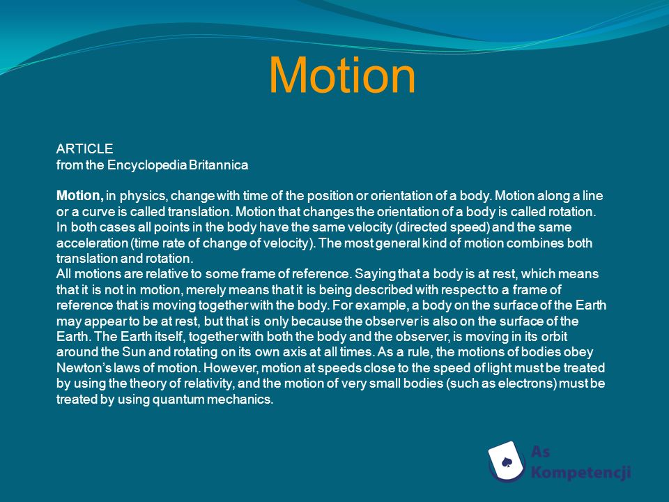 Motion ARTICLE from the Encyclopedia Britannica