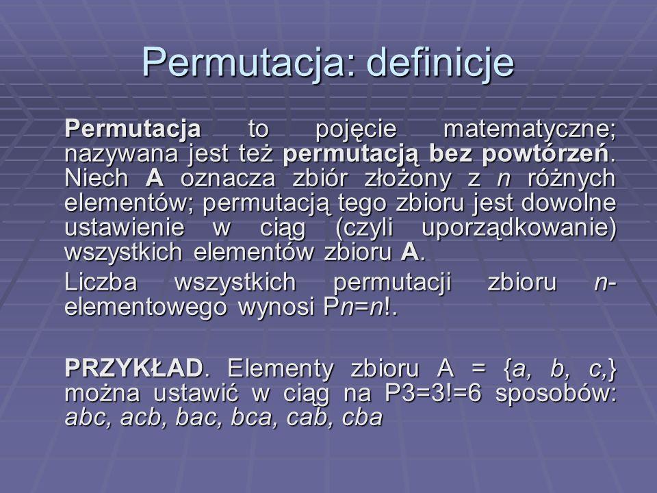 Permutacja: definicje
