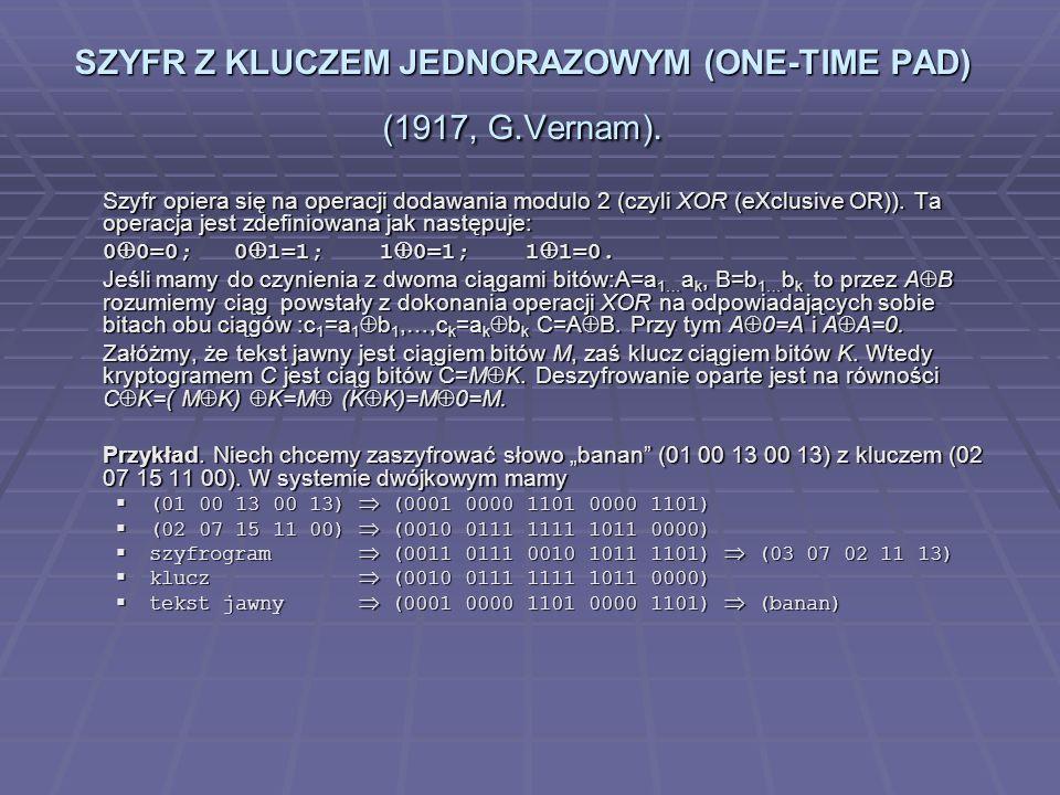 SZYFR Z KLUCZEM JEDNORAZOWYM (ONE-TIME PAD) (1917, G.Vernam).