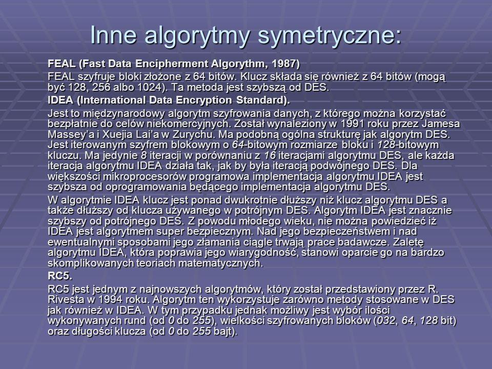 Inne algorytmy symetryczne: