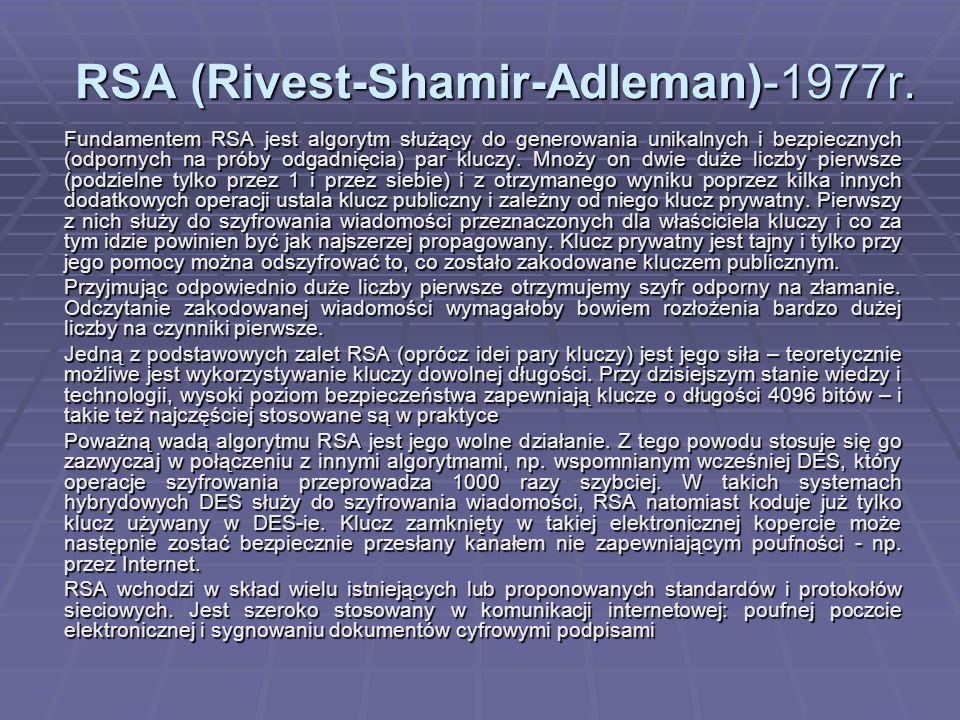 RSA (Rivest-Shamir-Adleman)-1977r.