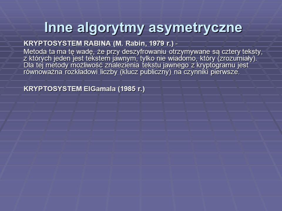 Inne algorytmy asymetryczne