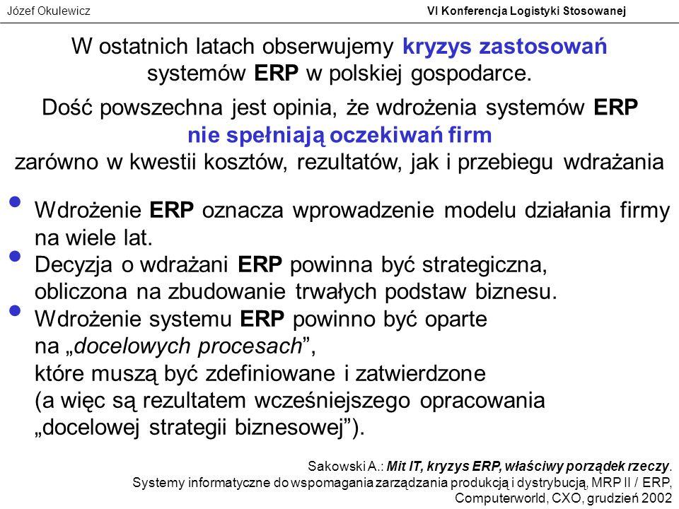 W ostatnich latach obserwujemy kryzys zastosowań systemów ERP w polskiej gospodarce.