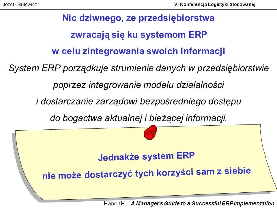 Jednakże system ERP nie może dostarczyć tych korzyści sam z siebie