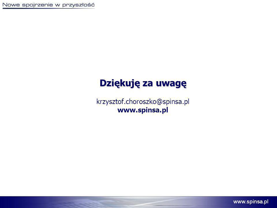 Dziękuję za uwagę krzysztof.choroszko@spinsa.pl www.spinsa.pl