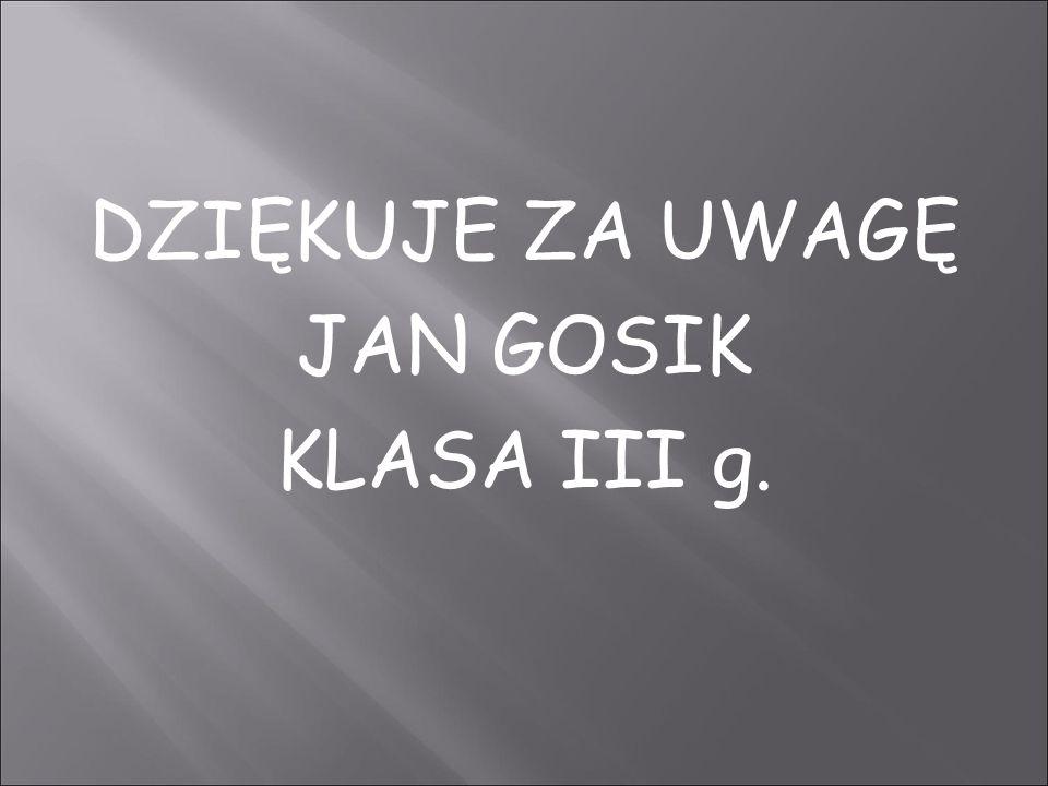 DZIĘKUJE ZA UWAGĘ JAN GOSIK KLASA III g.