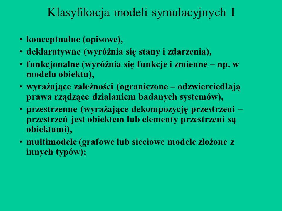 Klasyfikacja modeli symulacyjnych I