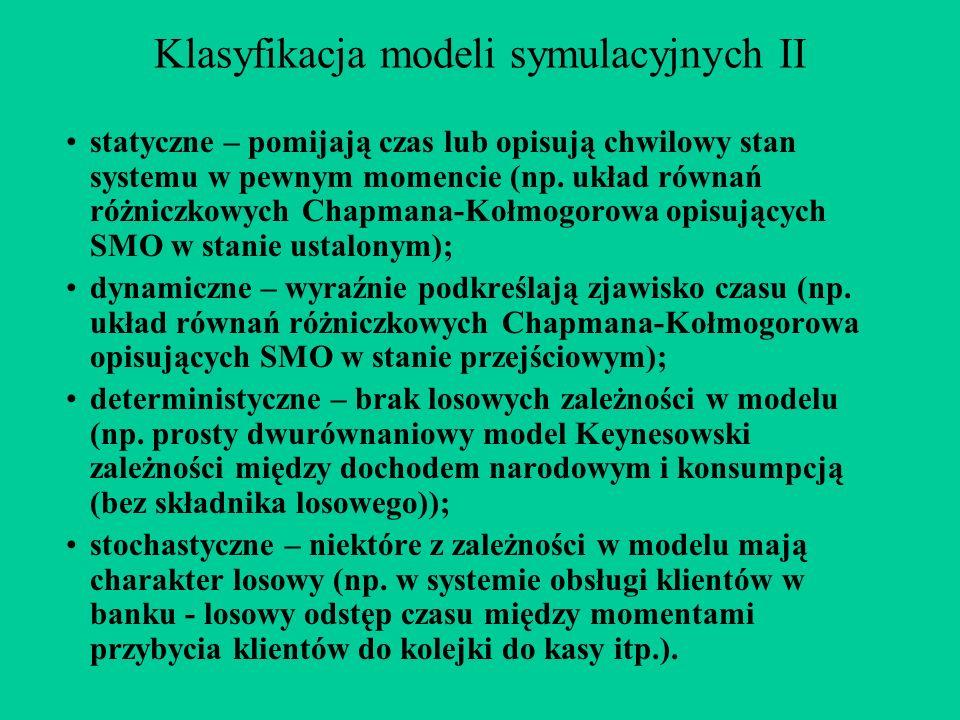 Klasyfikacja modeli symulacyjnych II