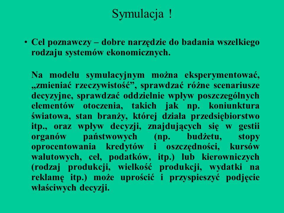 Symulacja ! Cel poznawczy – dobre narzędzie do badania wszelkiego rodzaju systemów ekonomicznych.