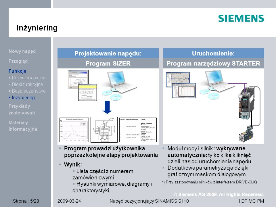 Projektowanie napędu: Program narzędziowy STARTER