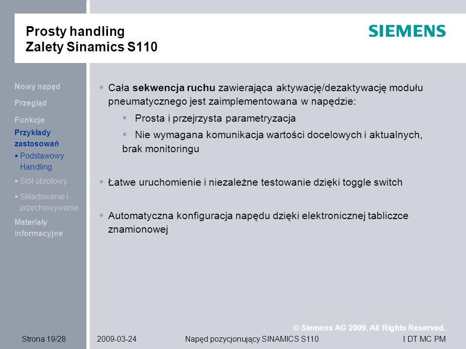 Prosty handling Zalety Sinamics S110