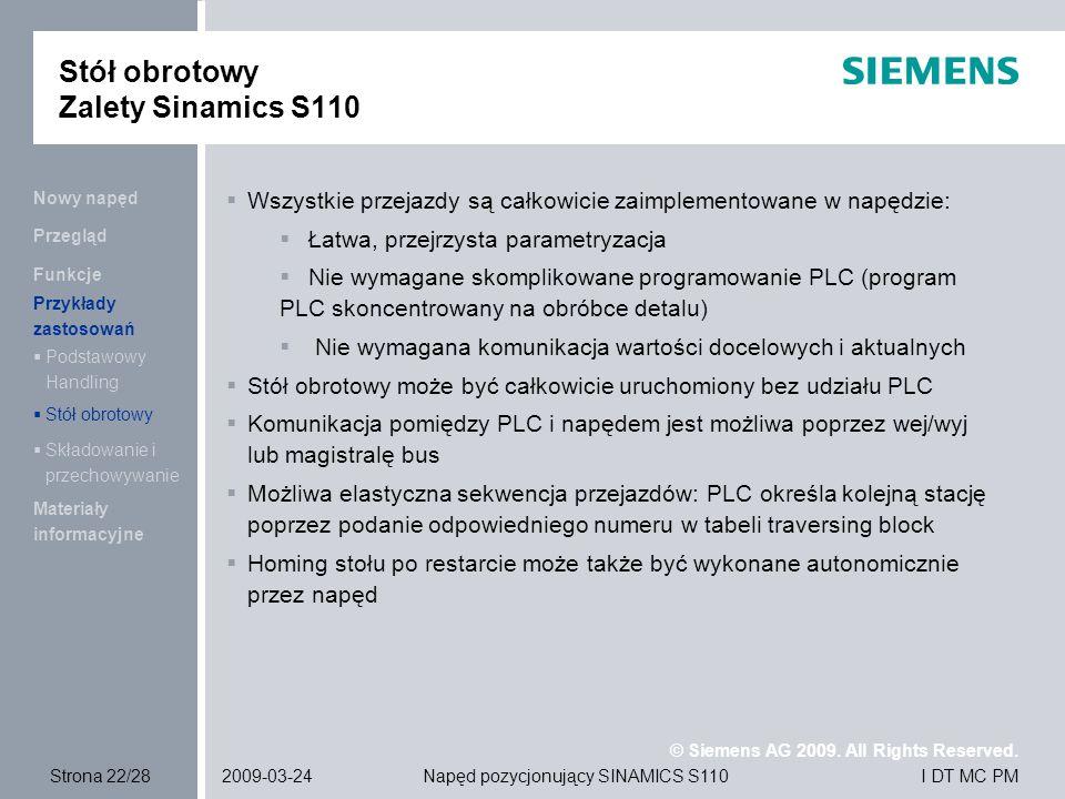 Stół obrotowy Zalety Sinamics S110
