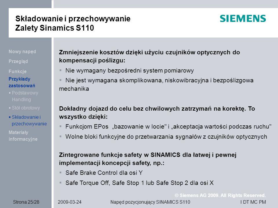 Składowanie i przechowywanie Zalety Sinamics S110