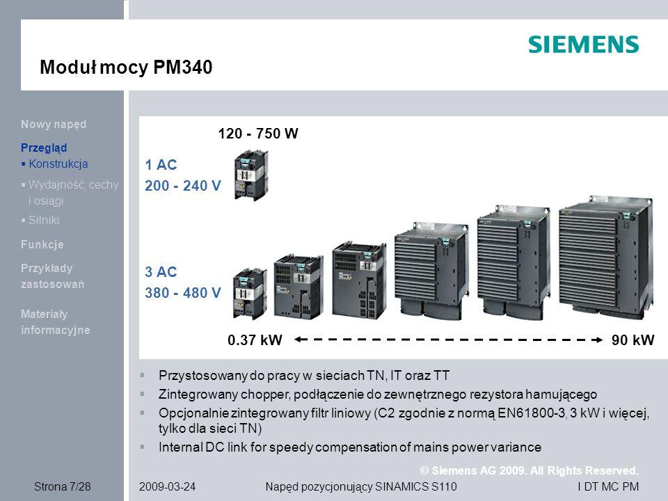 Moduł mocy PM340 120 - 750 W 1 AC 200 - 240 V 3 AC 380 - 480 V 0.37 kW