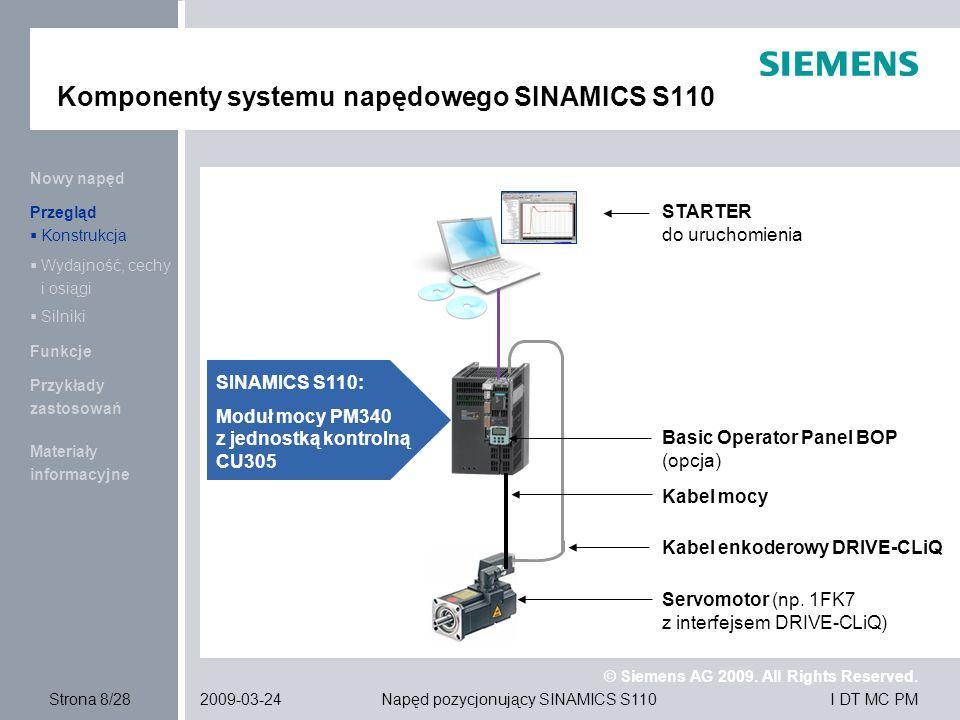 Komponenty systemu napędowego SINAMICS S110