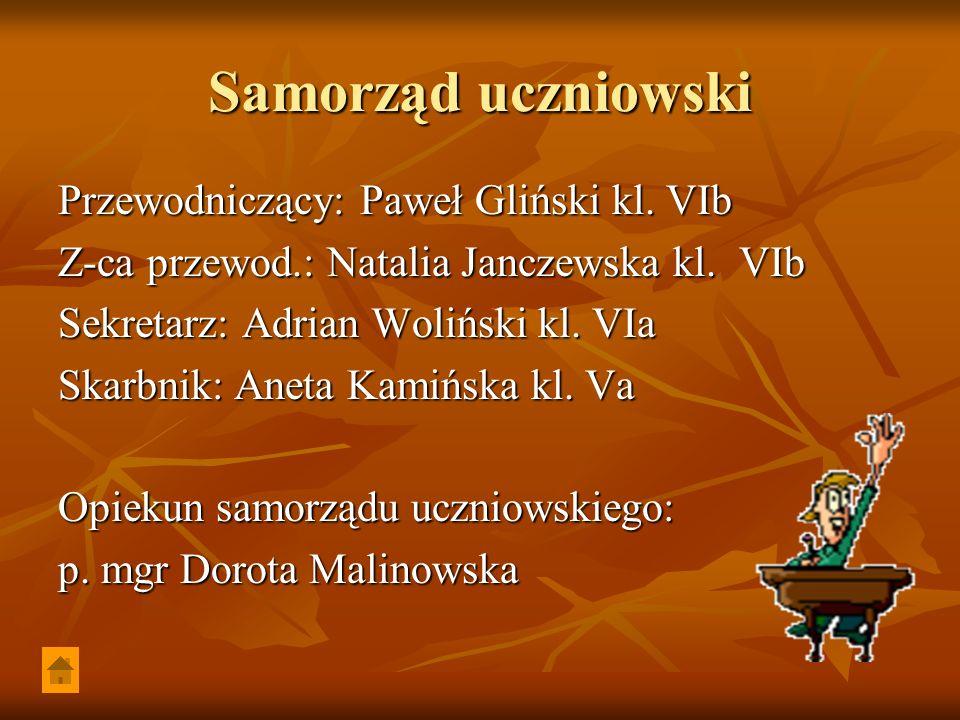 Samorząd uczniowski Przewodniczący: Paweł Gliński kl. VIb