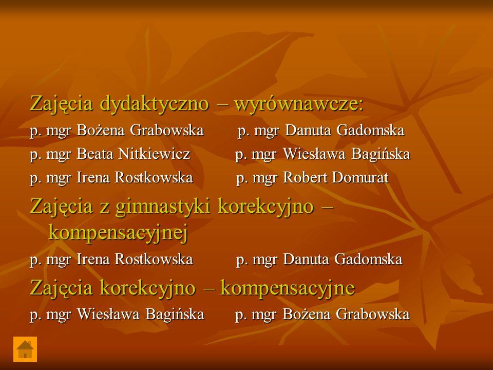 Zajęcia dydaktyczno – wyrównawcze: