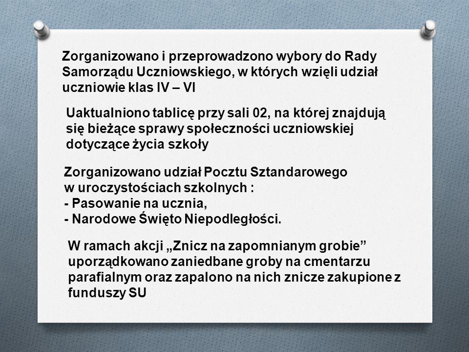 Zorganizowano i przeprowadzono wybory do Rady Samorządu Uczniowskiego, w których wzięli udział uczniowie klas IV – VI