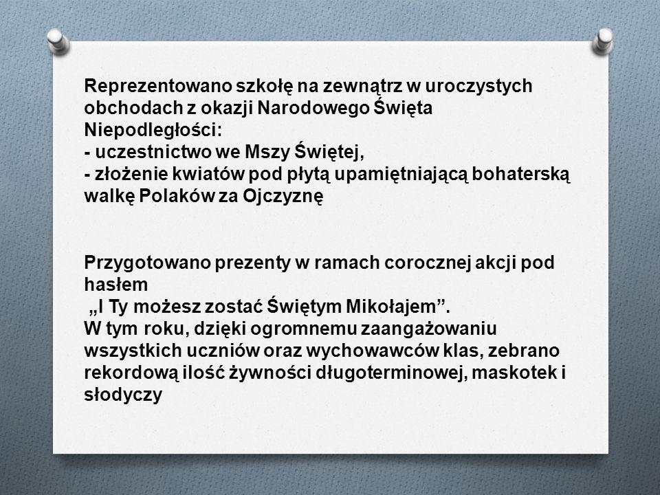 Reprezentowano szkołę na zewnątrz w uroczystych obchodach z okazji Narodowego Święta Niepodległości: - uczestnictwo we Mszy Świętej, - złożenie kwiatów pod płytą upamiętniającą bohaterską walkę Polaków za Ojczyznę