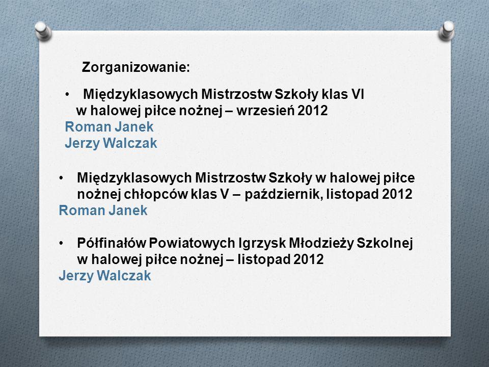 Zorganizowanie: Międzyklasowych Mistrzostw Szkoły klas VI. w halowej piłce nożnej – wrzesień 2012.