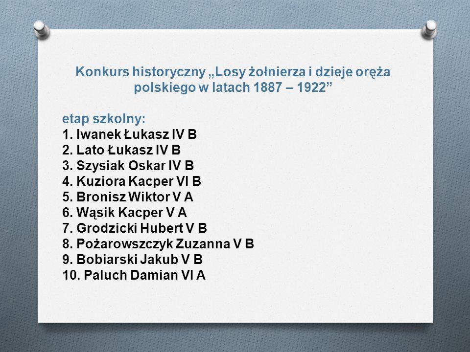 """Konkurs historyczny """"Losy żołnierza i dzieje oręża polskiego w latach 1887 – 1922"""