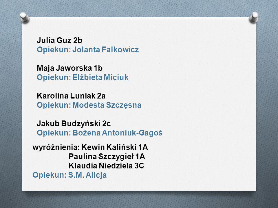 Julia Guz 2b Opiekun: Jolanta Falkowicz. Maja Jaworska 1b. Opiekun: Elżbieta Miciuk. Karolina Luniak 2a.