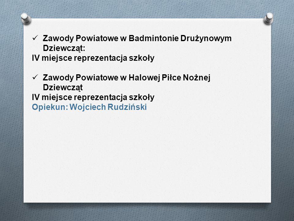 Zawody Powiatowe w Badmintonie Drużynowym Dziewcząt:
