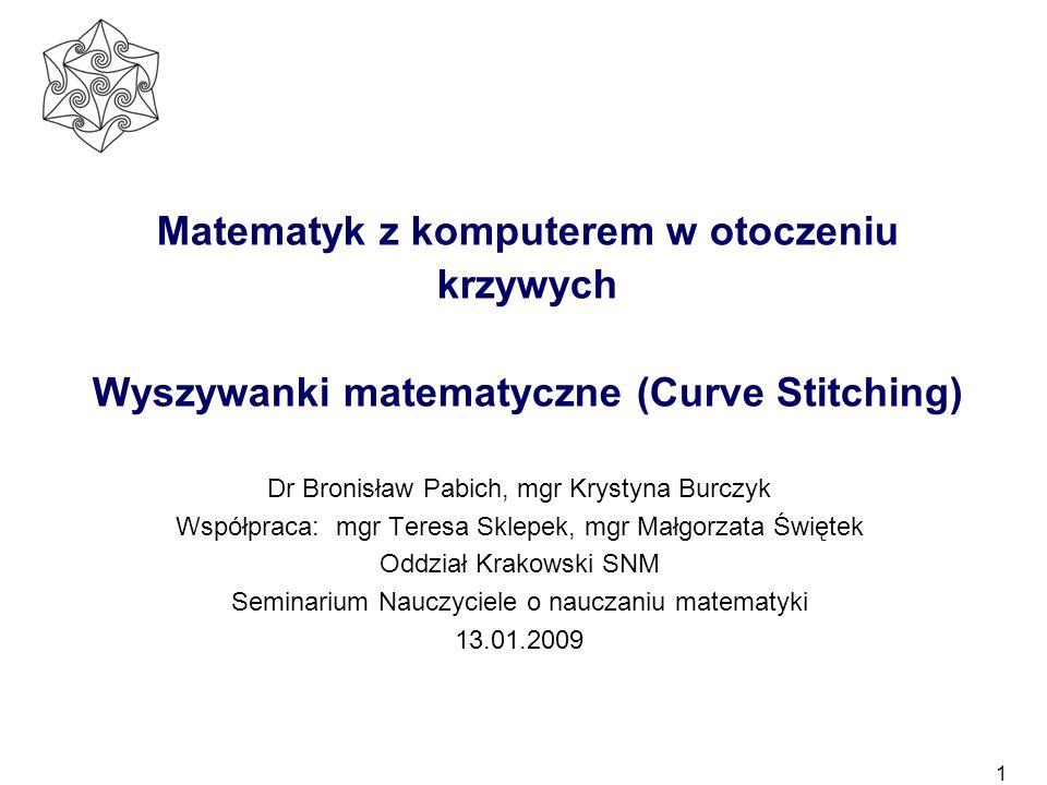 Matematyk z komputerem w otoczeniu krzywych Wyszywanki matematyczne (Curve Stitching)