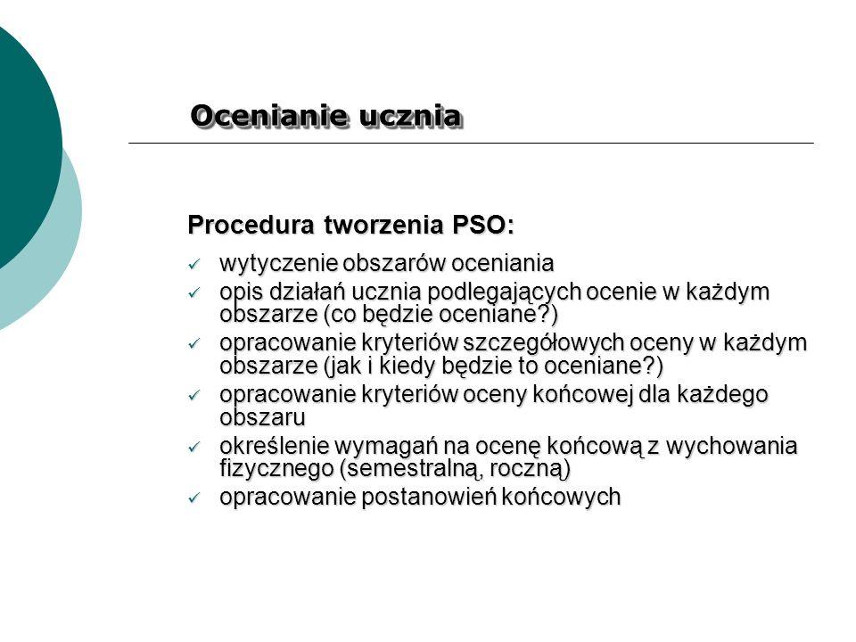 Ocenianie ucznia Procedura tworzenia PSO: