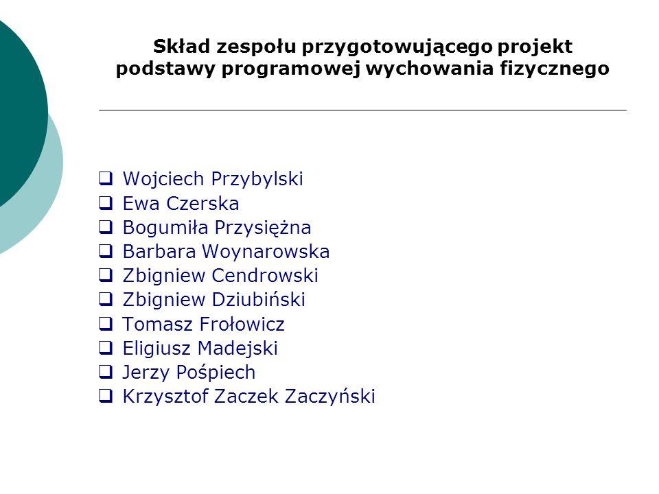Skład zespołu przygotowującego projekt podstawy programowej wychowania fizycznego