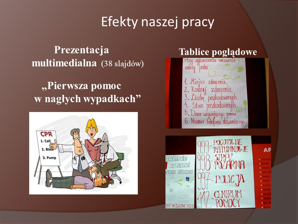 """Efekty naszej pracyPrezentacja multimedialna (38 slajdów) """"Pierwsza pomoc w nagłych wypadkach Tablice poglądowe."""