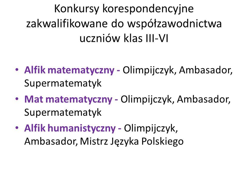 Konkursy korespondencyjne zakwalifikowane do współzawodnictwa uczniów klas III-VI