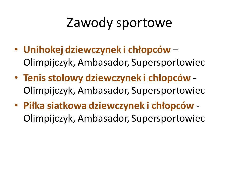 Zawody sportowe Unihokej dziewczynek i chłopców – Olimpijczyk, Ambasador, Supersportowiec.