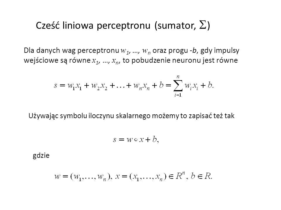 Cześć liniowa perceptronu (sumator, S)