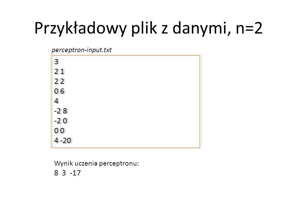 Przykładowy plik z danymi, n=2