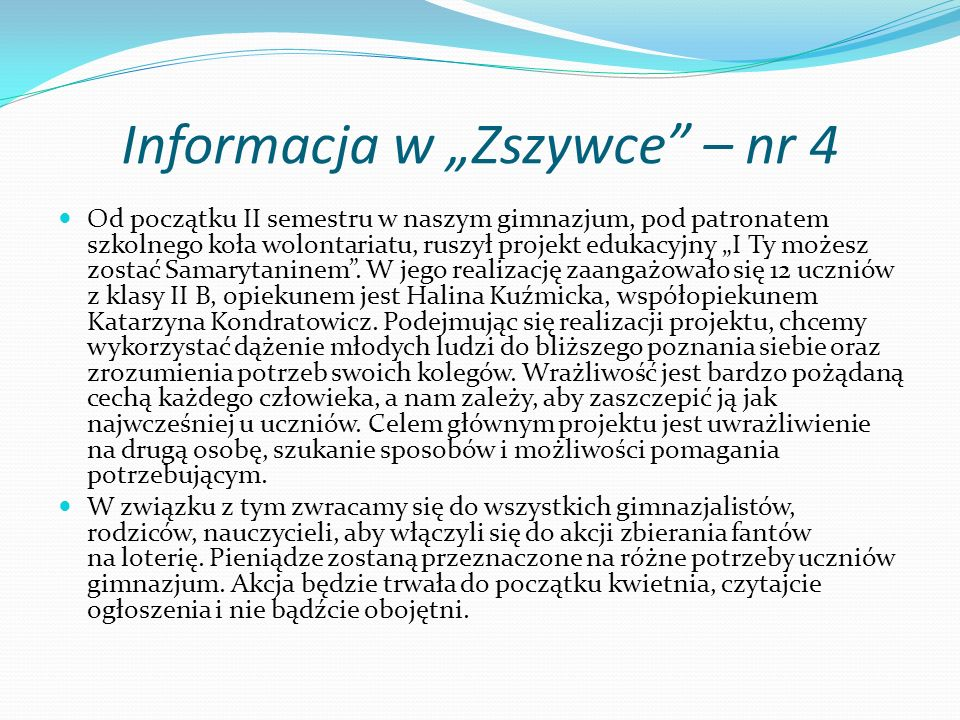 """Informacja w """"Zszywce – nr 4"""