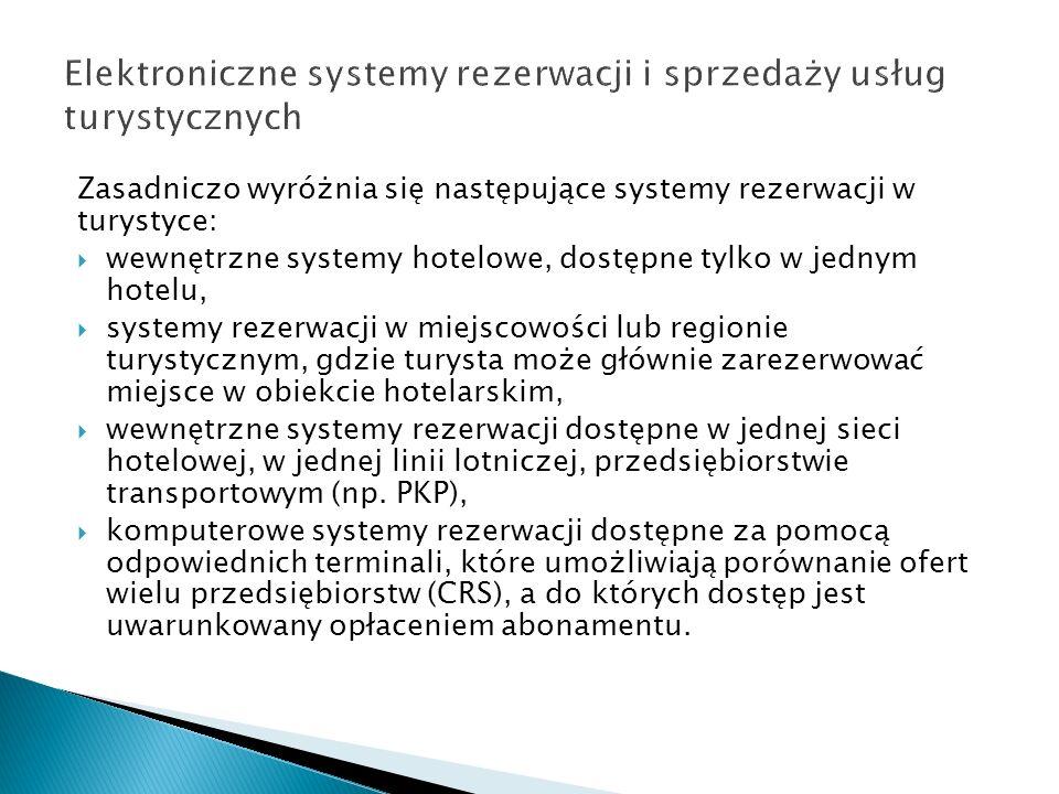 Elektroniczne systemy rezerwacji i sprzedaży usług turystycznych