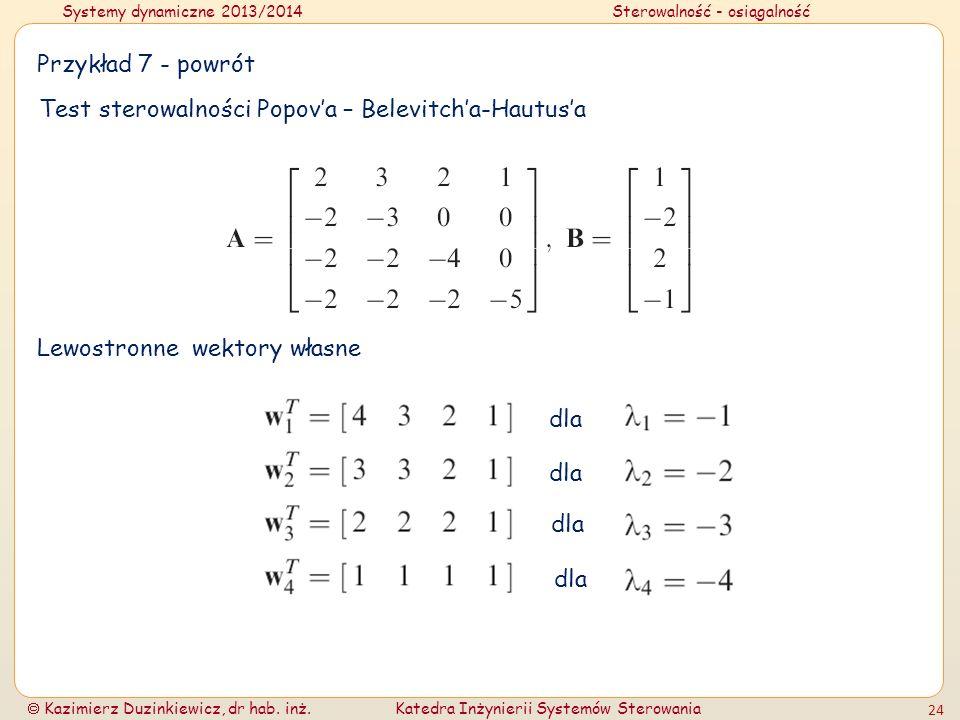Przykład 7 - powrót Test sterowalności Popov'a – Belevitch'a-Hautus'a. Lewostronne wektory własne.