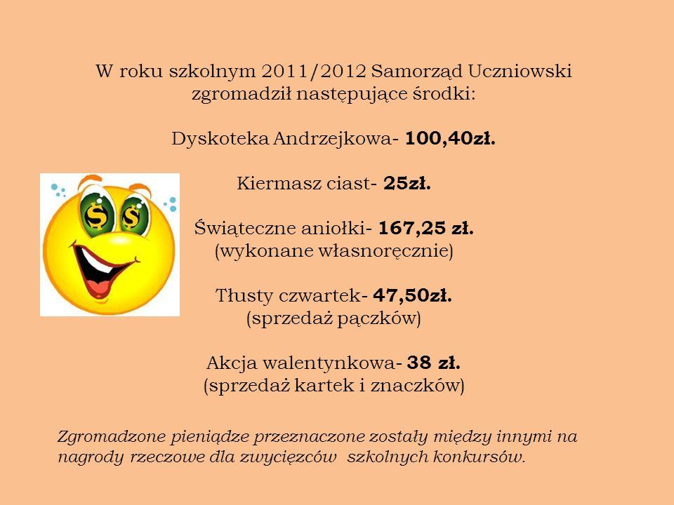 Dyskoteka Andrzejkowa- 100,40zł. Kiermasz ciast- 25zł.