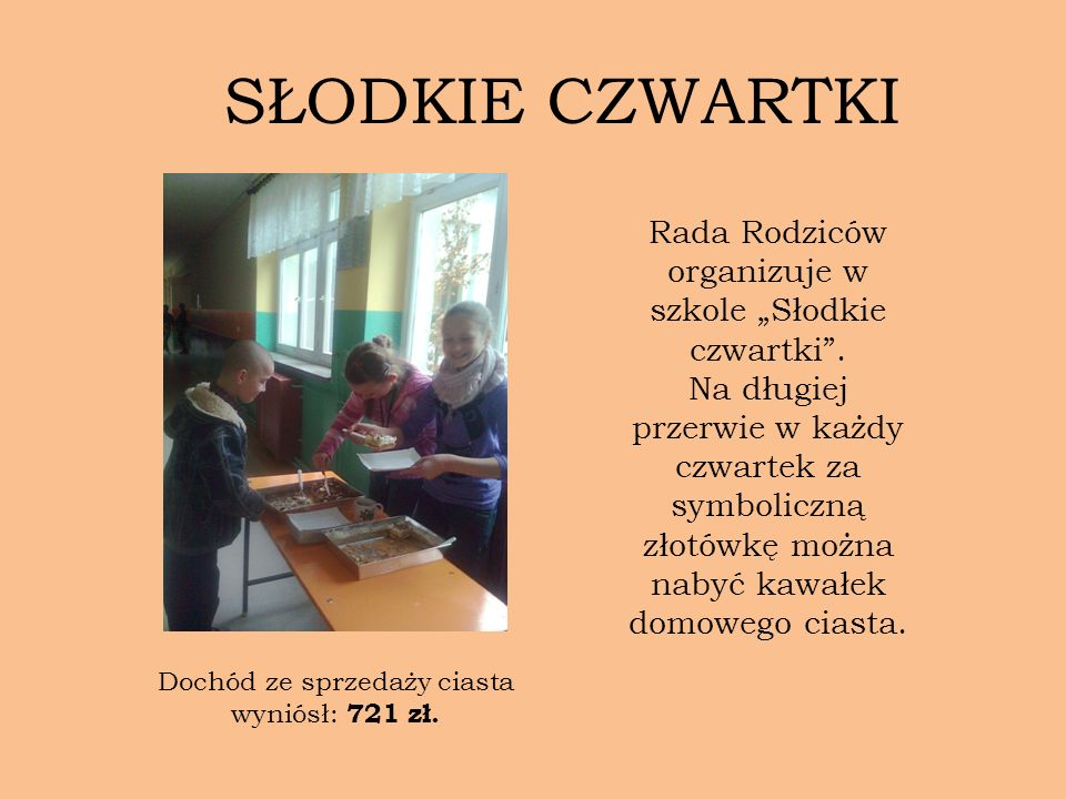 """SŁODKIE CZWARTKI Rada Rodziców organizuje w szkole """"Słodkie czwartki ."""