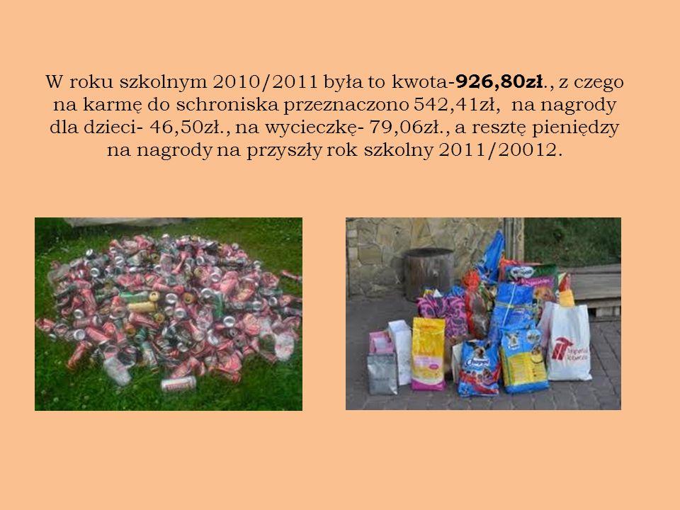 W roku szkolnym 2010/2011 była to kwota-926,80zł
