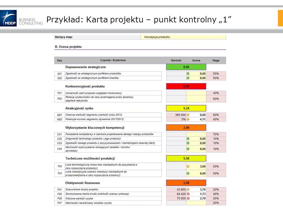 """Przykład: Karta projektu – punkt kontrolny """"1"""