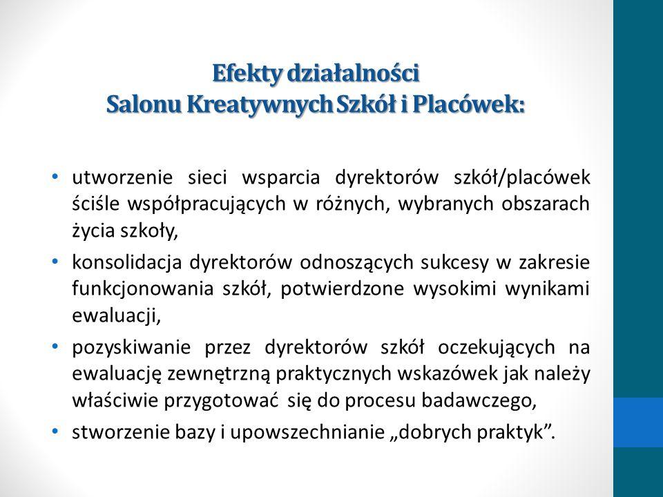 Efekty działalności Salonu Kreatywnych Szkół i Placówek: