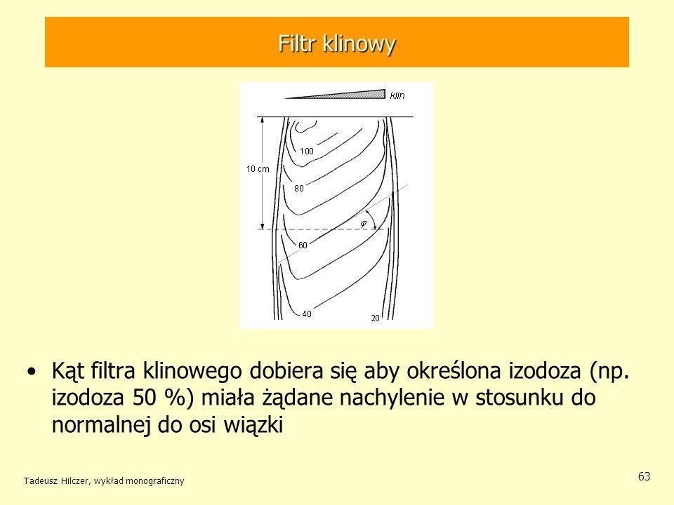 Filtr klinowy Kąt filtra klinowego dobiera się aby określona izodoza (np. izodoza 50 %) miała żądane nachylenie w stosunku do normalnej do osi wiązki.