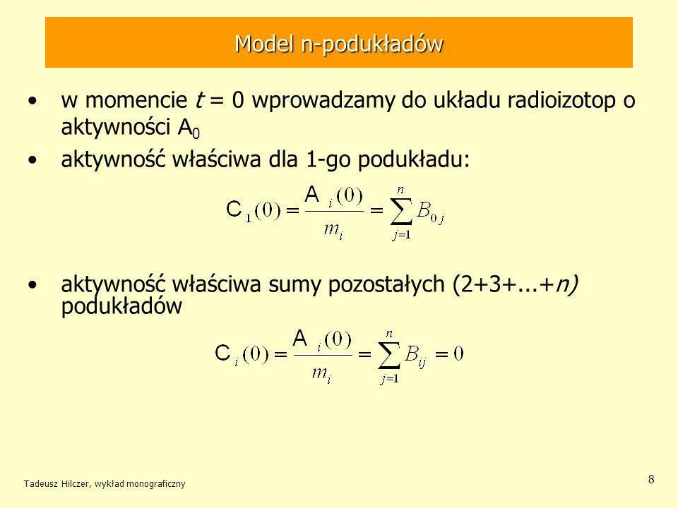 w momencie t = 0 wprowadzamy do układu radioizotop o aktywności A0