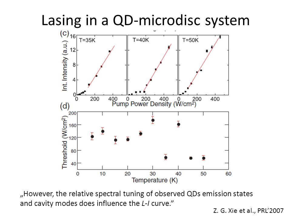 Lasing in a QD-microdisc system